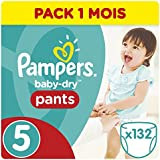 Pampers - Baby Dry Pants - Couches Taille 5 (12-18 kg/Junior) - Pack Economique 1 Mois de Consommation (x132 Couches)