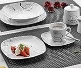 Domestic Kaffeeservice 18tlg.Chancon, Porzellan, Weiß, 19 x 19 x 2 cm, 18-Einheiten