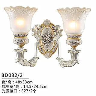 LIYAN Europeanwalllampbedroomwalllampbedsidelightlivingroomlampwalllightsimpleeuropeanlampstaircaselampcorridorlighting,bd032 Dual Head Wall Lights, The LED Light Source
