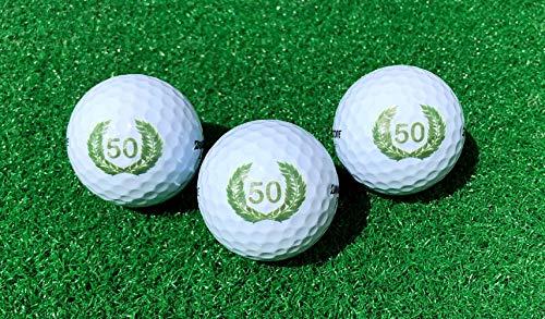 LL-Golf ® 3er Set 50er Geburtstags Golfbälle mit Happy Birthday Motiv in Geschenkbox/Golf Geburtstagsgeschenk/Golfgeschenk -