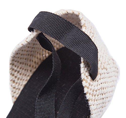 Femmes classiques talon talon cheville cheville naturelle strate de la semelle intercalaire Noir-FR