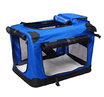 BUNNY BUSINESS Folding Fabric Dog Crate Pet Carrier with Free Fleece, Extra Large, 32-inch, Blue by BUNNY BUSINESS