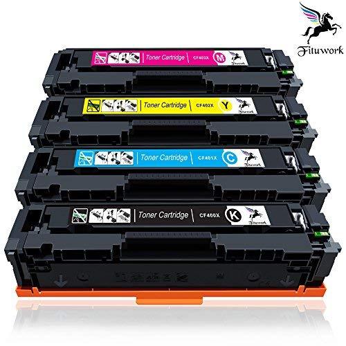 Fituwork 1Set Kompatibler Ersatz für HP 201X CF400X CF401X CF402X CF403X Tonerkartusche Einsatz in HP Color LaserJet Pro MFP M277dw, M252dw, MFP-m277n, M277w, M252w, M252n (1B1C1Y1M - 4Packs) - High-yield-combo