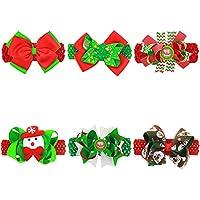txian 6pcs Natale pupazzo bowknot accessori per capelli fascia elastica Hairband morbido nastro e Festival Decorazioni Natalizie per Bambini per bambini