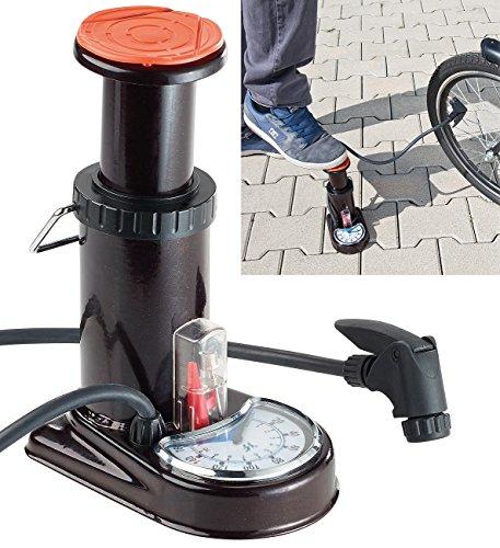 AGT Fußpumpe Auto: Stabile Stand-Fußpumpe aus Stahl, Manometer bis 11 bar, Adapterset (Auto Luftpumpe)