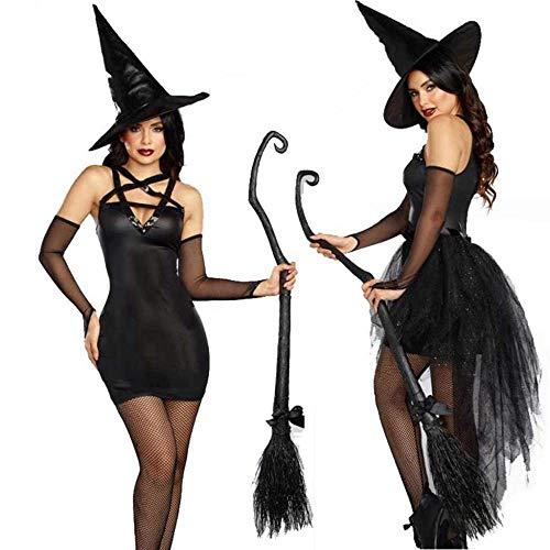 KAIDILA Halloween-Kostüm Classic Black Witch Rolle Spielen Kostüm Cosplay Hexenkleid bis Erwachsene