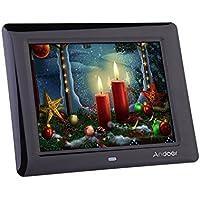 Andoer 8'' Cornice Foto Digitale LCD per Musica e Film MP3 MP4 Movie Player Sveglia Regalo di Natale con Telecomando