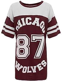 T-shirt de baseball long et ample pour femme Motifs Chicago 87 Wolves Style universitaire