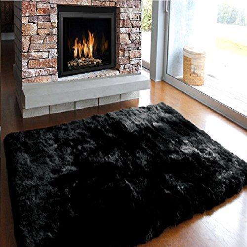 acrylic-sheepskin-rug-soft-shaggy-fluffy-plain-bedroom-non-slip-rubber-carpet-mat-black