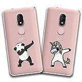 2 X Cover Wiko View Lite,Panda SWAG + Unicorno SWAG Premium Morbida Trasparente Silicone Gel TPU Anti-graffio Cellulare Protezione Custodia per Wiko View Lite