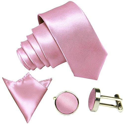 GASSANI 3-SET Krawattenset, 8,5Cm Breite Rosane Herren-Krawatte Schmal Manschettenknöpfe Ein-Stecktuch, Bräutigam Hochzeitskrawatte Glänzend