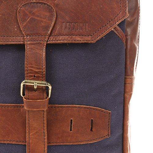 LECONI Crossbag Rucksack aus Canvas & Leder Bodybag für Damen + Herren Umhängetasche im Vintage-Look Retro Crossover-Tasche Unisex 26x34x10cm LE1012-C navy / braun
