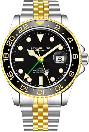 Stuhrling Original Herren Edelstahl Jubiläumsarmband GMT Uhr - Schweizer Quarz, Dual Time, Quickset Datum mit verschraubter Krone, wasserdicht bis 10 ATM (Gold)