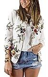 ShallGood Frauen Mädchen Blouson Damen Übergangsjacke mit Blumen Blüten Muster - Bomberjacke Floral Jacke Größe:34-44 Weiß DE 36