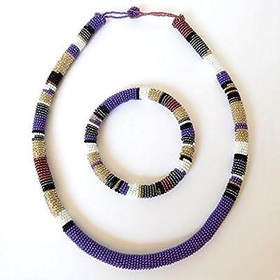 Parure collier et bracelet en perles Sud Africain Zoulou - Violet/blanc/gris foncé