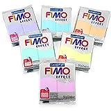 Fimo, Modelliermasse, 57g,Set mit 7 Teilen, Edelstein Finish