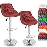 DWD-Company 2er Set Barhocker Barstuhl 10 Farben wählbar, 360° Frei Drehbar, Sitzhöhenverstellung 60-80cm (Weinrot)