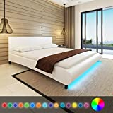 WEILANDEAL Bett mit Matratze und LED aus Kunstleder Weiß 180 x 200 cm Betten Basis Federleisten