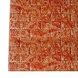 Godagoda 3D rot Marmor Ziegel Tapete Wandaufkleber Selbstklebend Stereo Wandtattoo für Schlafzimmer Kinderzimmer TV Hintergrund 60x30cm
