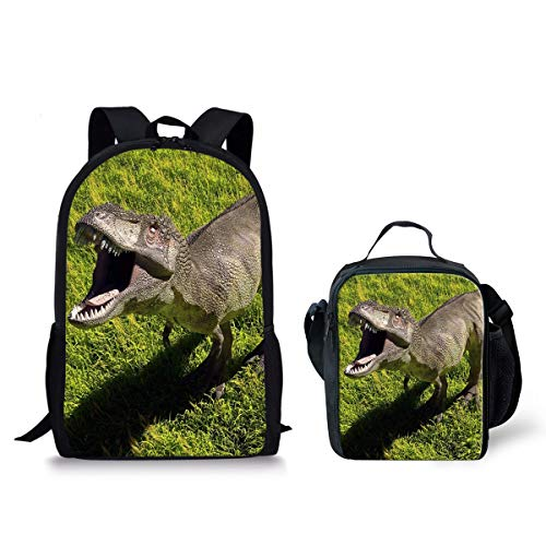 spArt Cool 3D Dinosaurier-Muster-Kind-Schule Bagpack Big Laptop Bagpack und auch A Isolierte Lunchbox 2 Stück zusammen