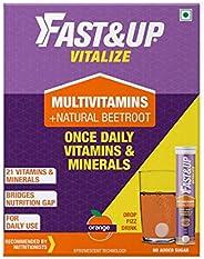 Fast&Up Vitalize - Immunity Essential Multivitamin For Men & Women (60 Effervescent Tablets, Orange Fl