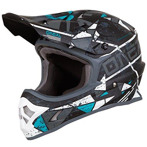 O'Neal 3Series Zen Motocross Motorrad MX Bike Helm FMX Enduro Moto Cross Offroad Quad Trail, 0623-Z-Adult, Farbe Petrol, Größe M (Nasenschutz Motorrad Helm)