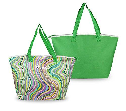 Freego borsa termica 375839 fantasia onde doppio manico verde. media wave store ®