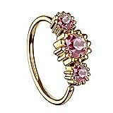 Piersando Universal Piercing Ring für Septum Tragus Helix Ohr Nase Lippe Brust Intim mit 3 Strass Kristallen Rosegold Vergoldet Rosa