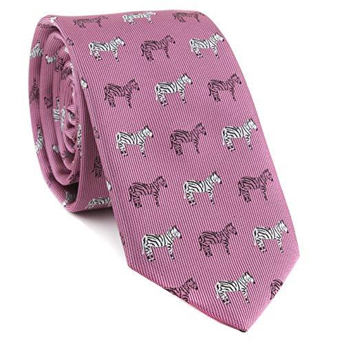 Littlefairy Herren Krawatte,Herren Krawatte aus Polyester Seide Jacquard Zebra Elefant Bestickte lässig Krawatte