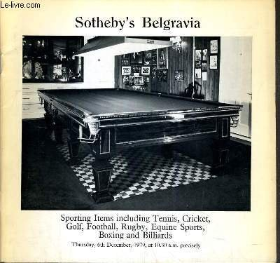 CATALOGUE DE VENTE AUX ENCHERES - SPORTING, ITEMS INCLUDING TENNIS, CRICKET, GOLF, FOOTBALL, RUGBY, EQUINE SPORTS, BOXING AND BILLIARDS - 6th DECEMBER 1979 / TEXTE EN ANGLAIS.