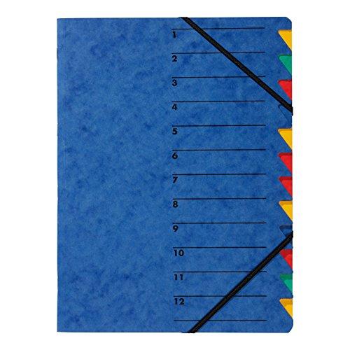 Pagna 24131-02 Ordnungsmappe Easy, Pressspan, A4, 12 Fächer, buntes Register, Einband blau