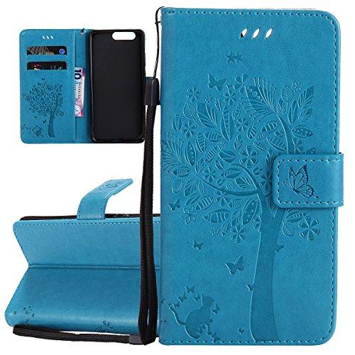 Hülle für Huawei P10 Plus, Tasche für Huawei P10 Plus, Case Cover für Huawei P10 Plus, ISAKEN Blume Schmetterling Muster Folio PU Leder Flip Cover Brieftasche Geldbörse Wallet Case Ledertasche Handyhü Baum Katze Blau