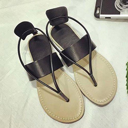 Koly_ Pattini piani delle donne della Boemia di modo per il tempo libero i sandali della signora Peep-Toe Scarpe Outdoor Black