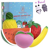 BRIGHTZEN Jumbo Squishies Pack Slow Rising Scented - 5 Pcs cute fruit squishy toys with gift box and Bonus mini squishies. Stress Relief Squishys for girls boys Kids Children and Adults