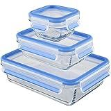 Emsa 514169 3-teiliges Frischhaltedosenset mit Deckel, Glas, Volumen 0.2, 0.5 und 1.3 Liter, Transparent/Blau, Clip & Close