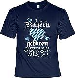 Bayerisches Funshirt, T-Shirt, Motivshirt, Sprücheshirt mit bayrischen Dialekt - I bi in Bayern geboren, desweng bin i oafach cooler wia Du
