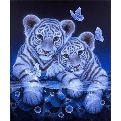 sunnymi DIY Diamond Painting, Tiger Tier Love Muster 5d Diamant Stickerei Bilder Kreuz Stich (30*35CM)