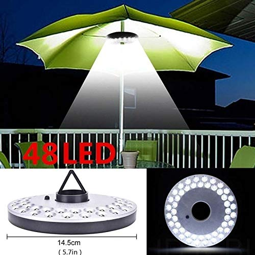 Mallallah Lampes Tente Camping Parasol de Jardin 48 Ampoules LED sans Fil 3 Mode différentes d'Illumination Patio,Terrasse,Jardin,Grand Parapluie