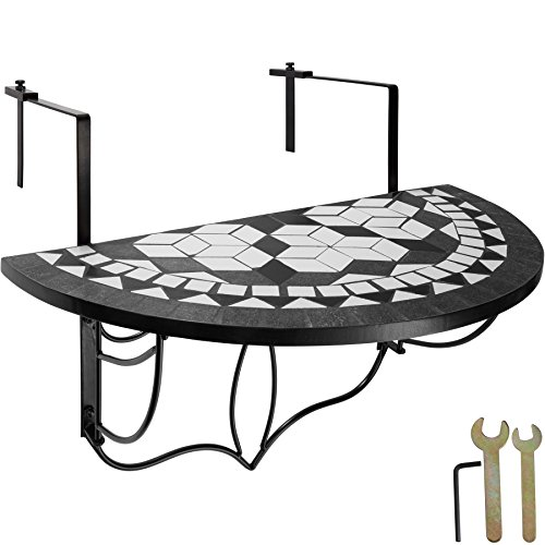 TecTake 800570 Foldable Balcony Table Mosaic, Suspended Table with Tabletop made of mosaic of stones, different colours- (Black-White | no. 402767)