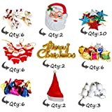 TIED RIBBONS 43 Pcs Christmas Tree Decorations Set (Mask,Bells,Balls, Drums, Stars, Candy Sticks & Santa Claus, Merry Christmas, Cap)