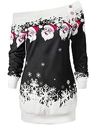 Sweatshirt de Noël,LMMVP Femmes Joyeux Noël Père Noël Imprimé Flocon de Neige Tops Manche Longue Pull (XL, Mode noir)