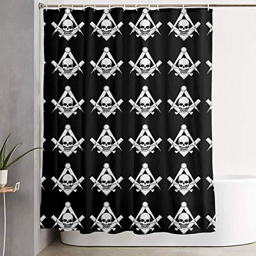 Duschvorhang,Waterproof Shower Curtains 60x70 inches Skull Freemason Logo Black Bathroom Shower Curtains Quickdry Fabric Bath Decor Set with Hooks Betsey Johnson Zebra