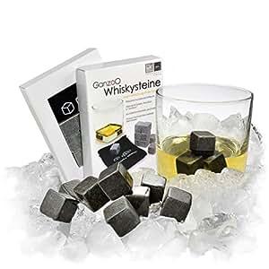 """9er SET Whisky-Steine aus natürlichem Speckstein für Getränke """"on the rocks"""", Kühlsteine im praktischen Stoffbeutel – Marke Ganzoo"""