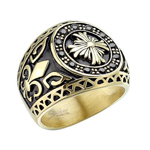 Mianova Herren Ring Edelstahl Massiv Breit Herrenring Männer Biker Rocker Keltisches Kreuz vergoldet mit Bourbonische Lilie Silber Größe 63 (20.1)