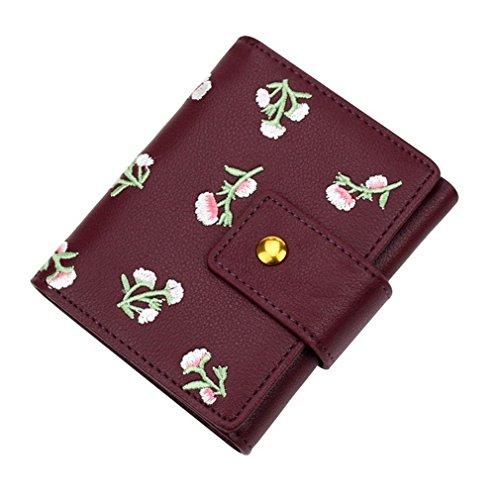 ume Frauen Kleine Brieftasche Weibliche Mini Brieftasche Kurz Entworfene Frauen Geldbörse Dame Kartenhalter Red ()