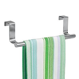 mDesign Porte-serviettes – Porte-torchon à suspendre sur un placard – Accroche torchon pour la cuisine, la salle de bain ou le garage – Largeur : 23 cm – Acier inoxydable poli