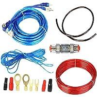 Boladge 1500W Audio del Coche Subwoofer Amplificador Kit de cableado Portafusibles Cables de Alambre Cable de Tierra
