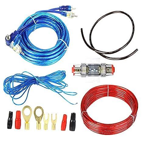 Boladge 1500W Car Audio Subwoofer Amplificateur Kit de câblage Porte-fusibles Câbles de câbles Fil de