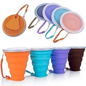 DEHUB Faltbare Tasse Silikon, FDA- und BPA-Freie Versenkbare Zusammenklappbare Reisebecher, 270ml Leichtbecher mit Größerem Fassungsvermögen für Camping-Wanderungen Im Freien (Mehrfarben 01, 4)