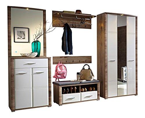 Stella Trading FEHW173081 Garderobenkombination, Absetzung San Remo Eiche MDF Inklusive Beleuchtung, Circa 280 x 200 x 46 cm, Eiche Nachbildung, Weiß Hochglanz